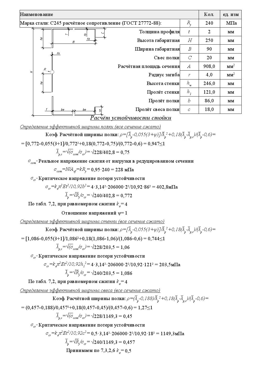 Расчет эффективного сечения ЛСТК при сжатии - 1
